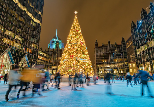 Ice Skating at PPG Place - Pittsburgh Pennsylvania