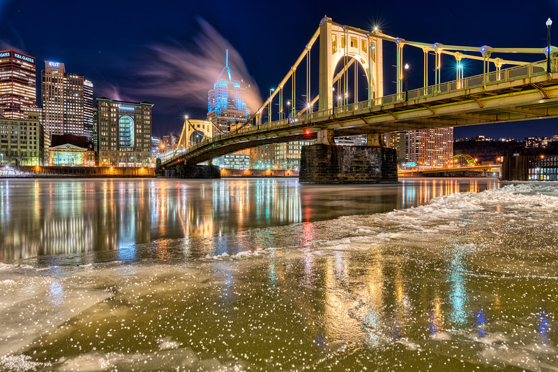 Ice and the Roberto Clemente Bridge