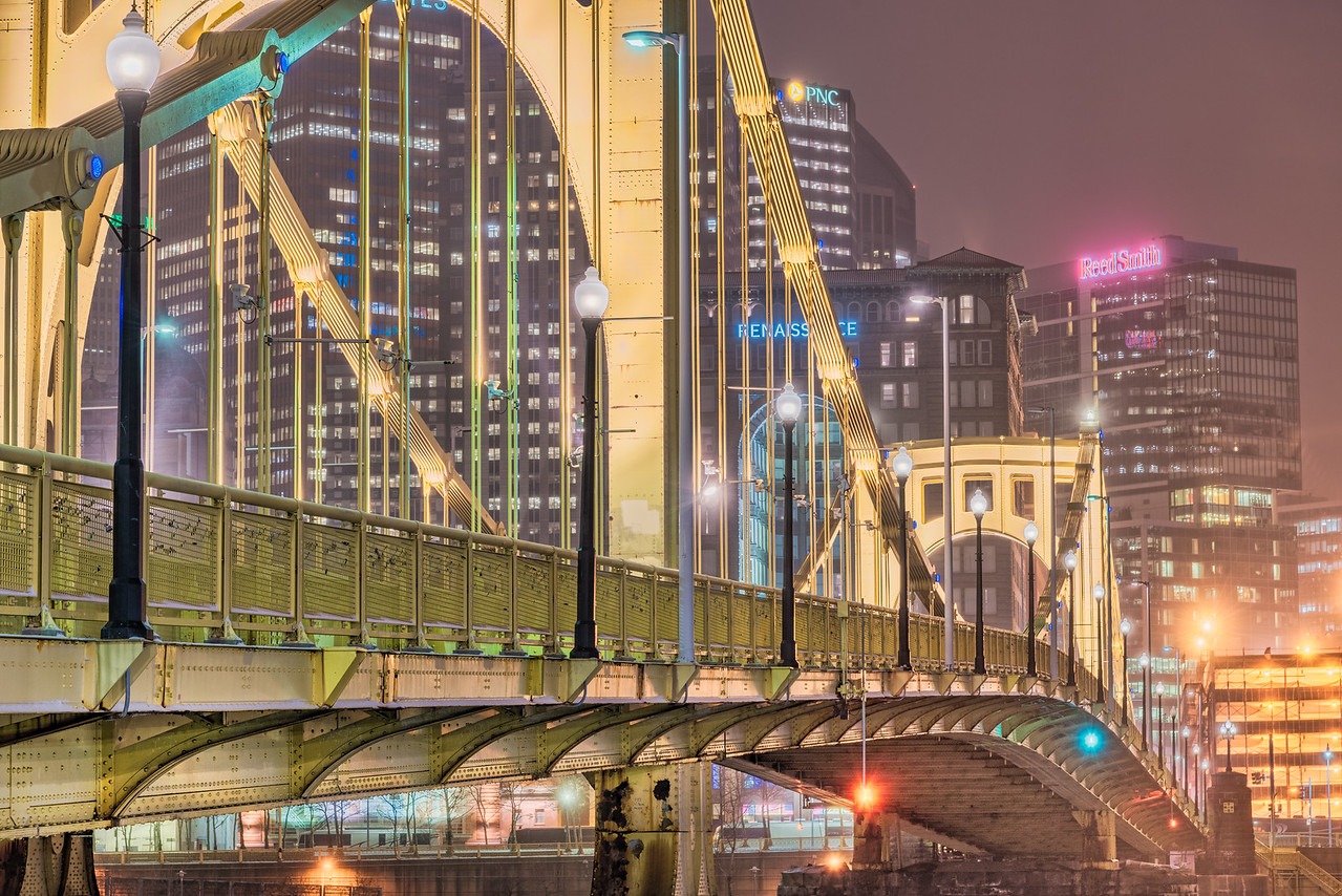 The Span of the Roberto Clemente Bridge  - Pittsburgh Pennslyvania