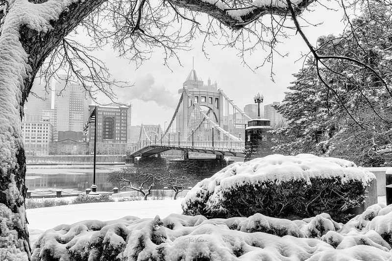 Roberto Clemente Bridge in the Snow (B&W) - Pittsburgh Pennsylvania
