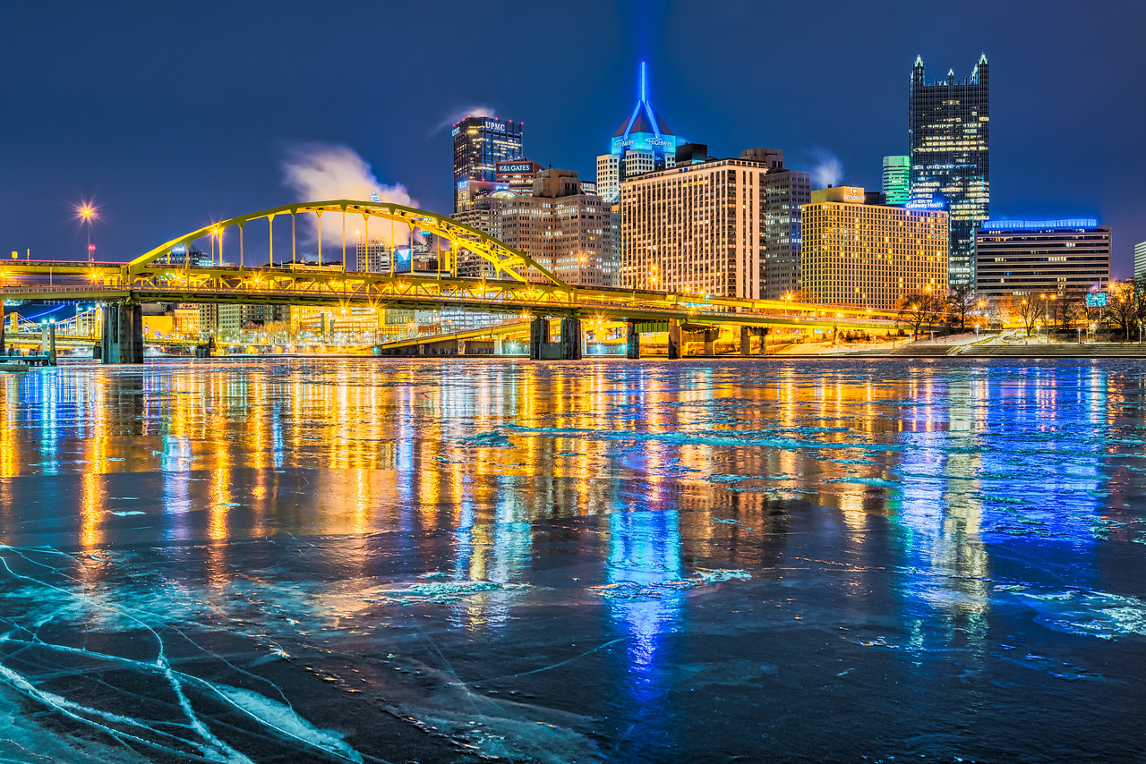 Reflections of the City in the Ice - Pittsburgh Pennsylvania