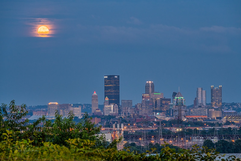 Full Moon Rising over Pittsburgh Pennsylvania