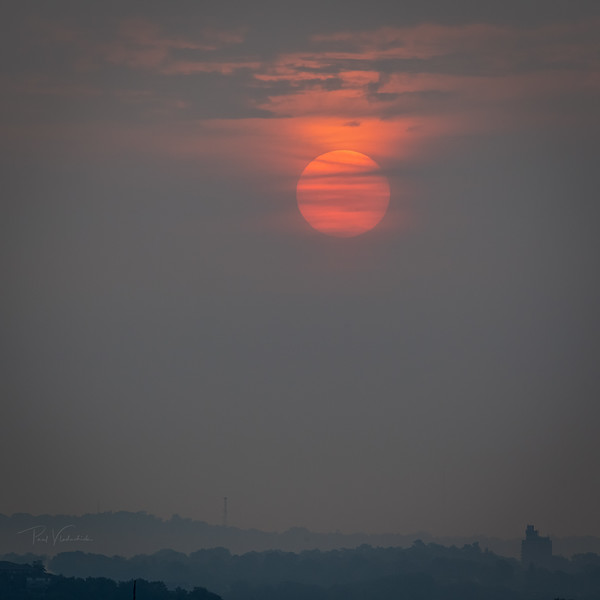 Pittsburgh Sunrise through the West Coast Wildfire Smoke
