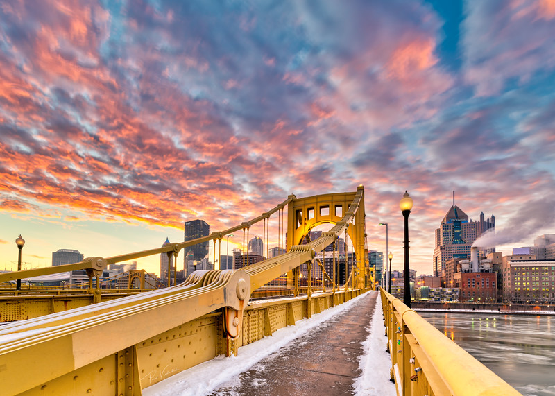 Winter Dawn on the Roberto Clemente Bridge