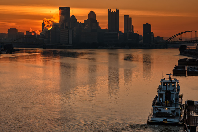 Fire Sunrise over Pittsburgh