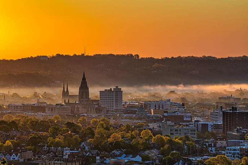 East Liberty Neighborhood of Pittsburgh in the Dawn Firelight