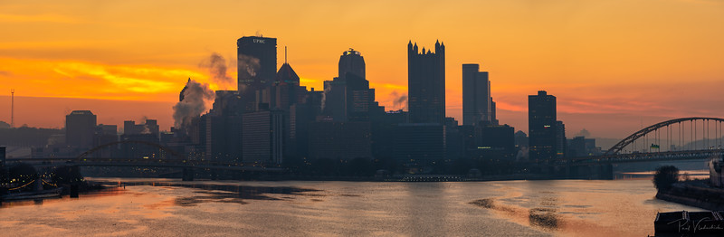 Pittsburgh Skyline and Fire Sunrise
