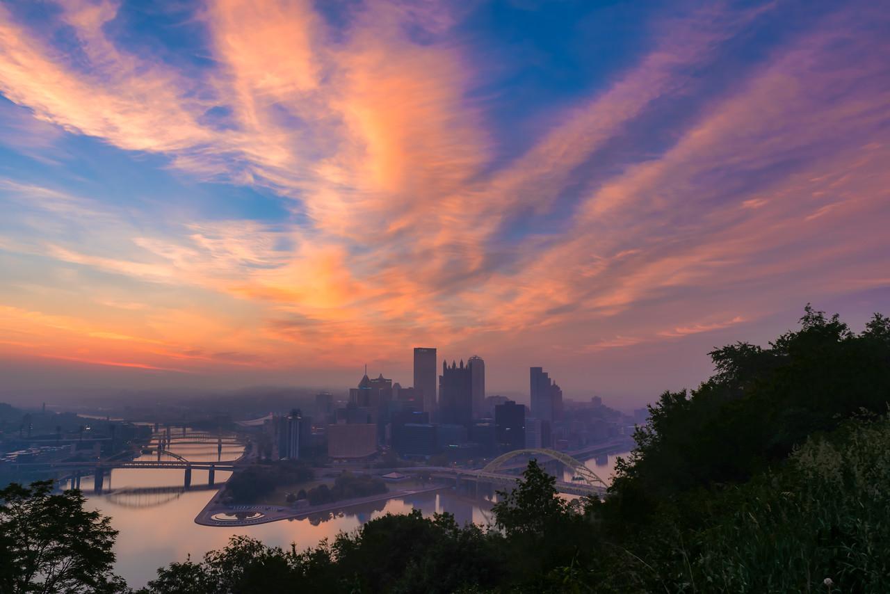 Sunrise over a Foggy Pittsburgh