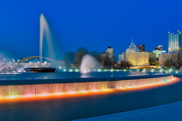 The Fountain at Night - Pittsburgh Pennsylvania