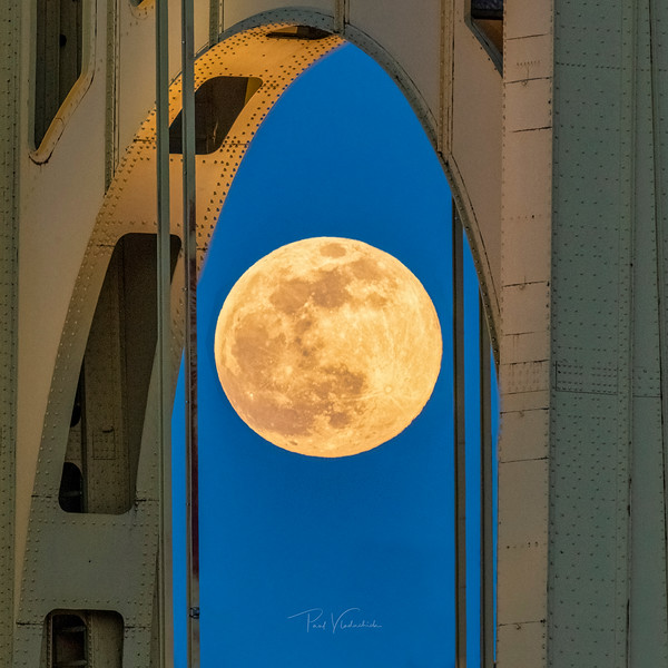 Pink Supermoon in the Arch of Roberto Clemente Bridge
