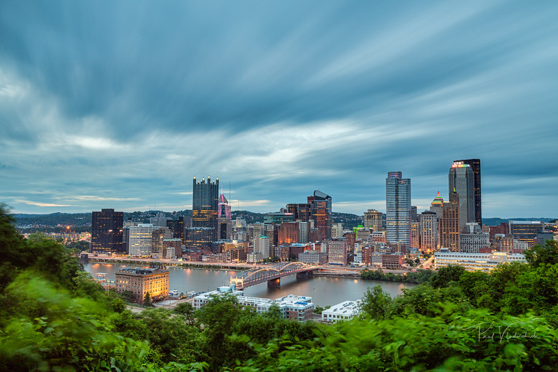 Pittsburgh Dusk with Slow Moving Clouds