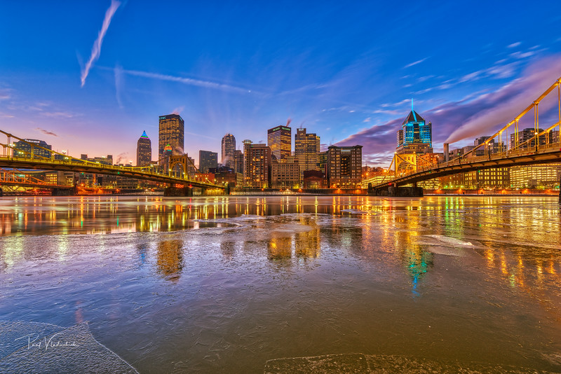 Downtown Pittsburgh during a Freezing Dawn