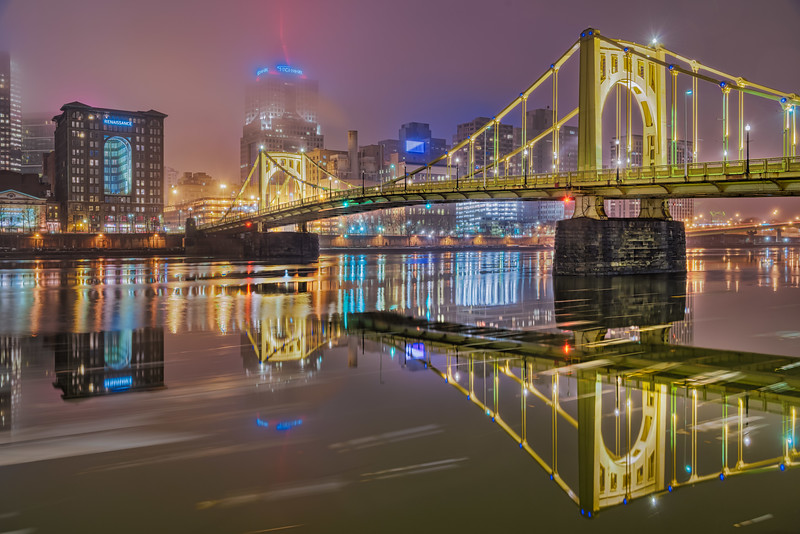 Roberto Clemente Bridge In the Fog - Pittsburgh Pennsylvania