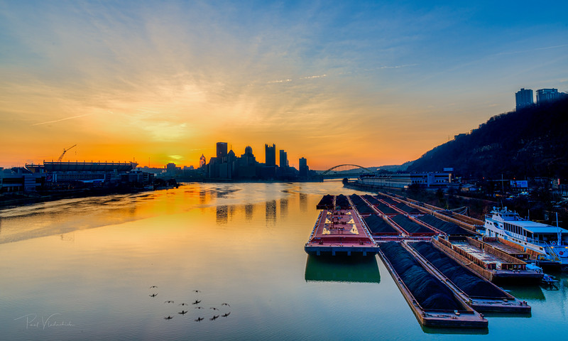 Sunrise over the Ohio River at the Confluence at Pittsburgh