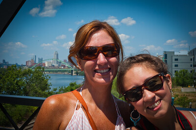 Linda and Isabella on the Hot Metal Bridge - Pittsburgh