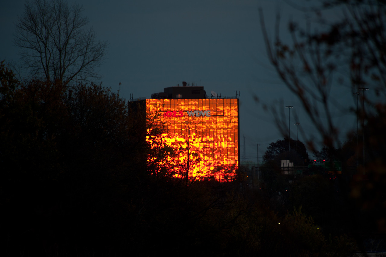 Greentree office building reflects the sunset.