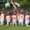 The team huddles in left field