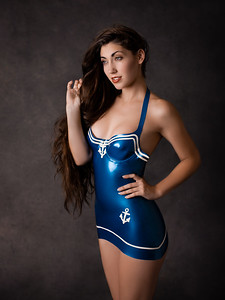 Madame Bink - blue latex sailor dress