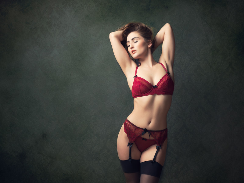 Rachelle Summers in red lingerie and stockings
