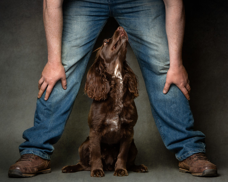 A man and his dog (Andy and Cassie).