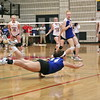 Erin Brady lunges for a dig.