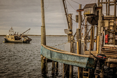 Chatham, MA.  Trawlers  and hoist at Stage Harbor.