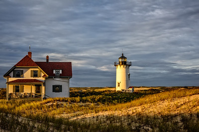 USA, Provincetown, MA. Race Point Light Station at sundown.