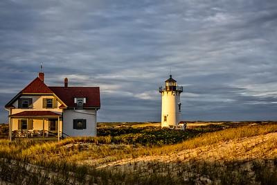 USA, Provincetown, MA. Race Point Light Station at sundown.