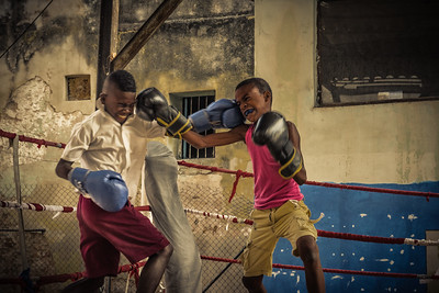 Cuba, Havana.  Rafael Trejo Boxing gym where boys learn the skills of boxing.  Cuba is a giant in amateur boxing and many gyms around the country train Olympic athletes.