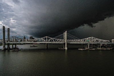 USA, Louisville, KY. John F. Kennedy Memorial Bridge in thunderstorm.