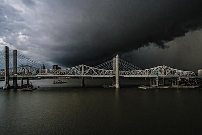 USA, Louisville, KY. John F. Kennedy Memorial Bridge in thunderstorm.