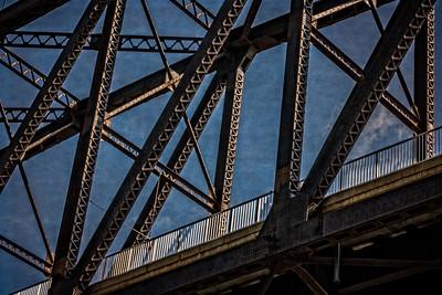 USA, Louisville, KY. Close-up of the George Rogers Clark Memorial Bridge.