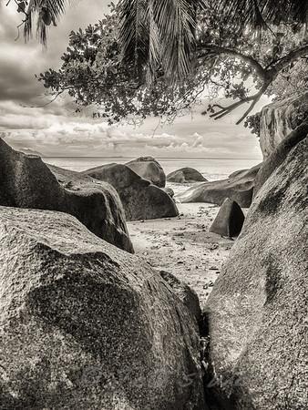 Beauvallon Beach, Seychelles on a rainy afternoon