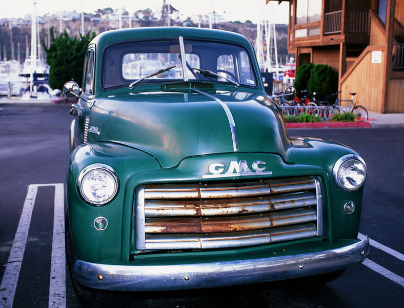 Just an old GMC pickup in Dana Point at the harbor. F3, Velvia 50, Nikkor 20-35/2.8 SB-16a flash.
