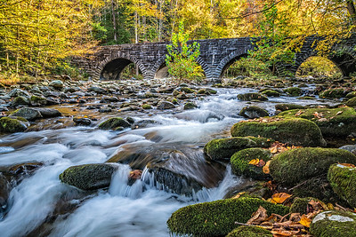 USA, Tennessee. Scenic autumn landscape of rrushing rapids, moss covered rocks bridge, and colorful leaves.
