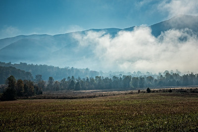 USA, Tennessee., Cades Cove, Scenic autumn landscape of fields and mountains in heavy fog, Great Smoky Mountains National Park.