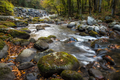 USA, Tennessee. Scenic autumn landscape of rocky mountain stream silky, water and  colorful foliage.