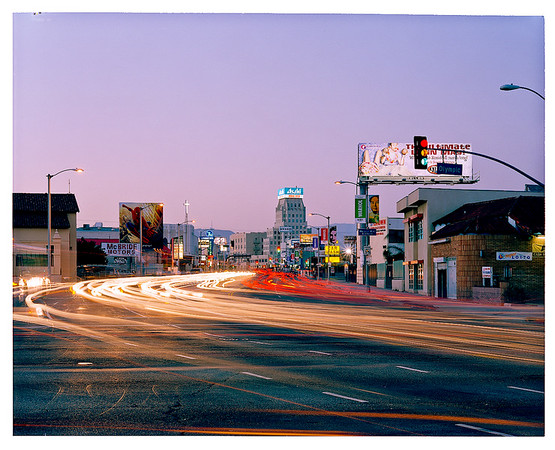 2002, 4x5 negative scan.  View looking North from La Brea and Olympic Boulevards.