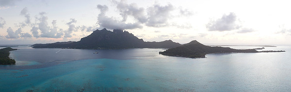 2012 Aerial Panorama.  Bora Bora, French Polynesia.
