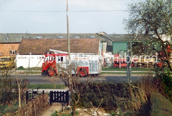 Fire engine in Buckingham Road, 1981