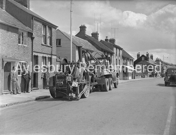 Steam roller on tow in Cambridge Street, July 22 1953