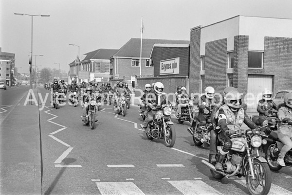 Motorbikes in Exchange Street, Apr 2 1982