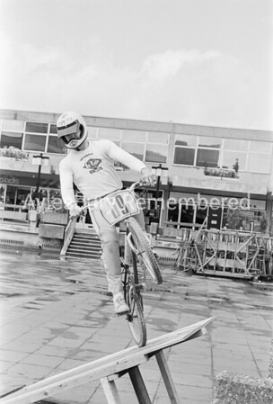 BMX riders in Friars Square, Apr 1983