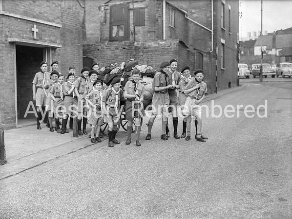 Scouts in Station Street, 1956