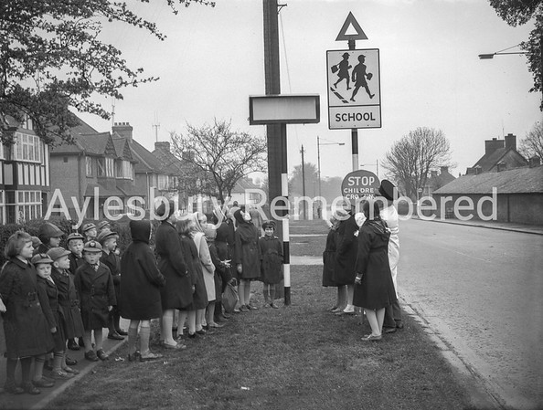 Lollipop Man with children in Tring Road, March 1961