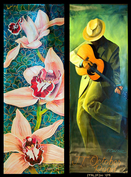 Banners, such as these by Grace Swanson and Catherine Carlton, will hang along the 101 through Cardiff,  Encinitas, and Leucadia from February 8 through May.
