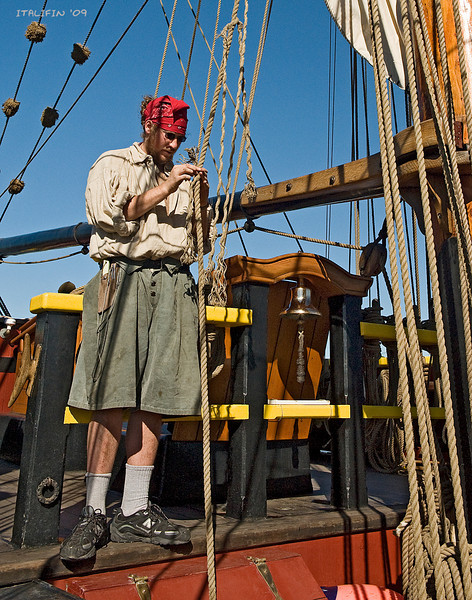 To keep the ship seaworthy, the crew performs all necessary tasks, including repairing the lines.