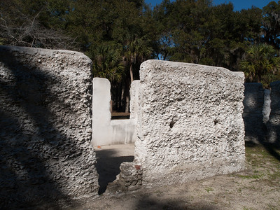 Kingsley Plantation slave quarters, constructed of a tabby concrete mix strengthened by oyster shell fragments.