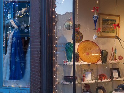 Second Street storefronts at Christmas