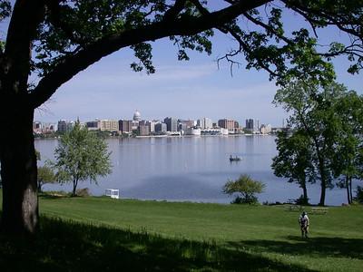 Madison skyline over Monona Lake
